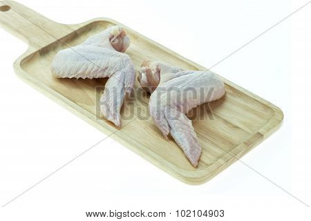 Raw Chicken Wings On A White Background