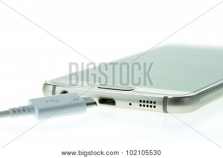 Macro Smartphone Connect With Charger Isolated On White