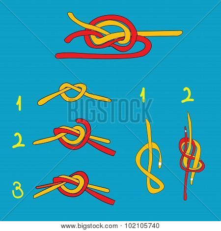 Water Knot, Figure Eight Knot, Overhand Knot