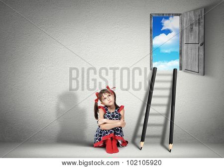 Solution Concept, Child Girl Dreaming Near Stairs Of Pencils
