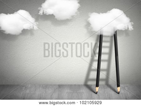 Idea Concept, Pencil Ladder To Clouds