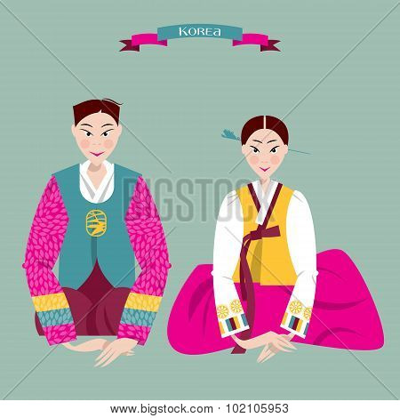 ?ouple In Traditional Korean Dresses. Seollal. Lunar New Year. Korean Tradition.