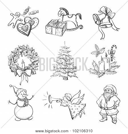 Christmas hand drawn icon set