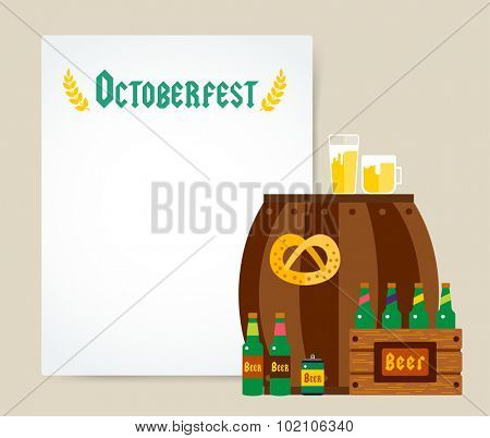 Oktoberfest celebration vector background poster. Octoberfest vector illustration background with text. Beer German festival vector background. Keg of beer, bottle beer box