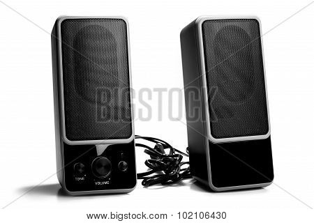 Black Two Speaker Isolated On White Background