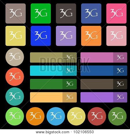3G Sign Icon. Mobile Telecommunications Technology Symbol. Set From Twenty Seven Multicolored Flat B