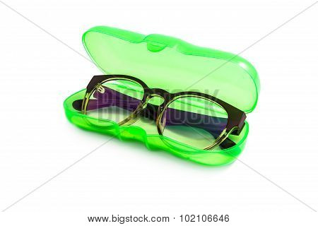 Green Plastic Glasses Case isolated on white