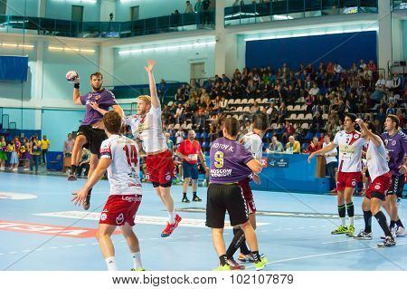 CHEKHOV, RUSSIA - SEPTEMBER 17: Young men playing handball on September 17, 2015 in Chekhov, Russia. Champions League.