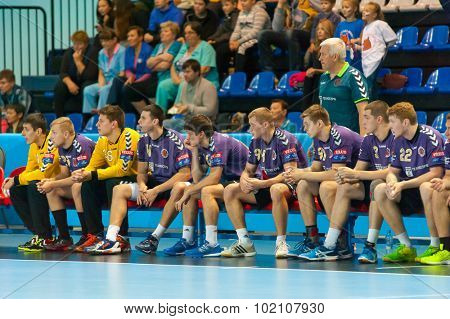 CHEKHOV, RUSSIA - SEPTEMBER 17: Reserve players at handball match on September 17, 2015 in Chekhov, Russia. Champions League.
