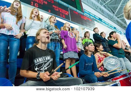 CHEKHOV, RUSSIA - SEPTEMBER 17: Fans cheering at handball match on September 17, 2015 in Chekhov, Russia. Champions League.