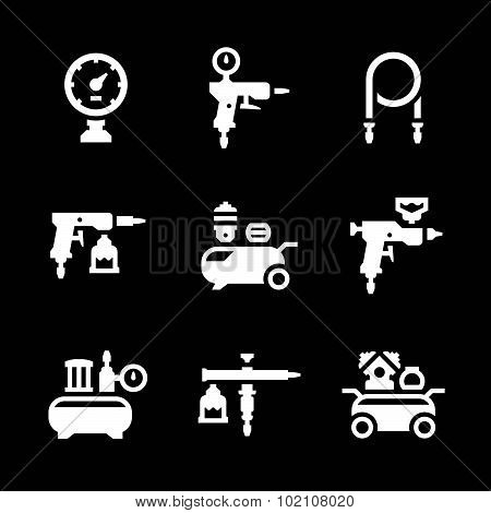 Set Icons Of Compressor And Accessories