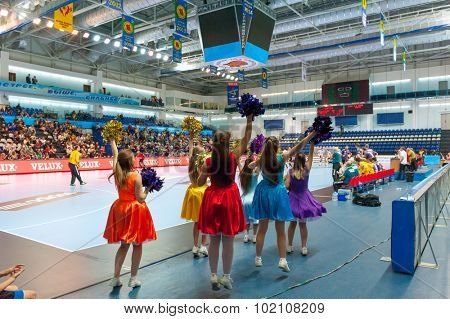 CHEKHOV, RUSSIA - SEPTEMBER 17: Cheerleaders girls age 10-13 support players on September 17, 2015 in Chekhov, Russia. Champions League.