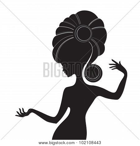 Woman sideview with long hair isolated on white background. Blac