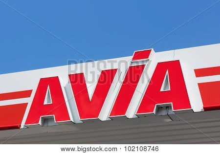 Avia Sign On The Roof Of The Filling Station