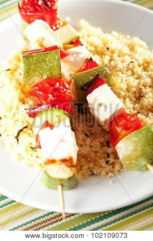 Grilled Skewers Over Rice