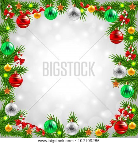Christmas Tree Branches On Snowy Background
