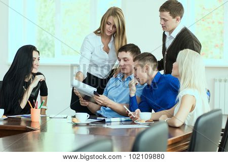 Young Entrepreneurs At A Business Meeting In The Office.