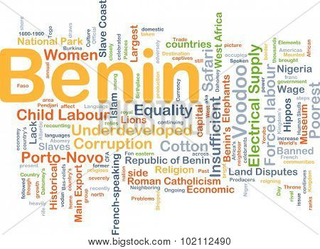 Background concept wordcloud illustration of Benin