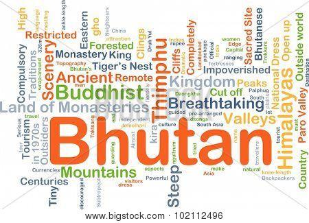 Background concept wordcloud illustration of Bhutan