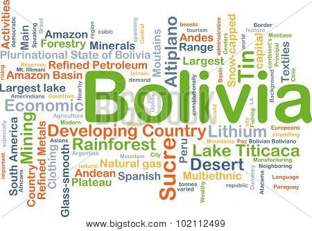 Background concept wordcloud illustration of Bolivia