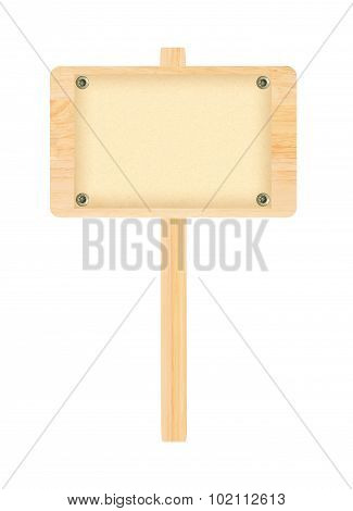 Wooden Sign With Paper Isolated On White Background
