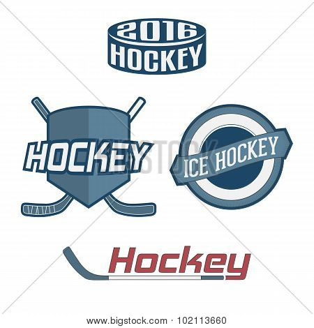 Set of colorful Hockey Team Labels