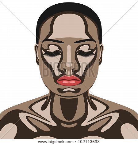 Beauty Woman with Chocolate on her Face