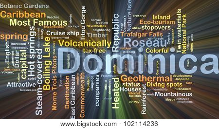 Background concept wordcloud illustration of Dominica glowing light