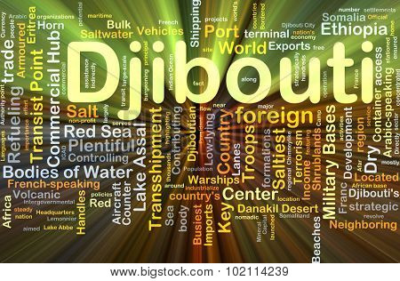 Background concept wordcloud illustration of Djibouti glowing light