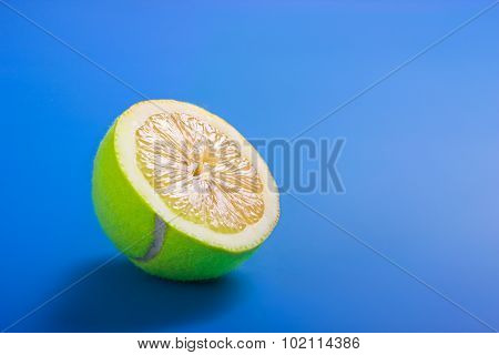 Healthy Life Concept With Sliced Tennis Ball And Lemon