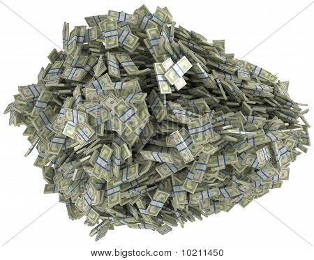Money And Wealth. Heap Of Us Dollar Bundles