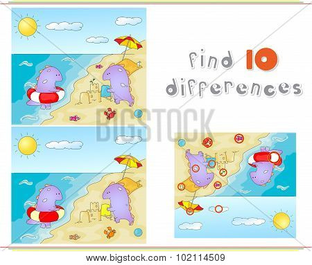Purple Dragons Playing On The Summer Beach. Educational Game For Kids: Find Ten Differences