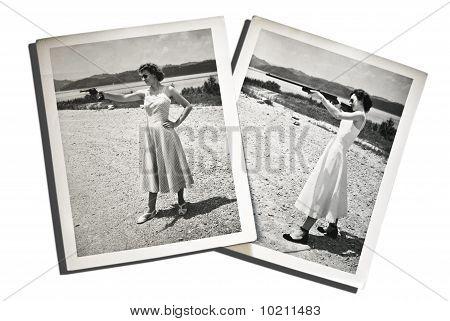 Vintage Photo Women with Guns