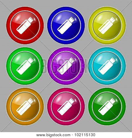 Usb Sign Icon. Flash Drive Stick Symbol. Symbol On Nine Round Colourful Buttons. Vector