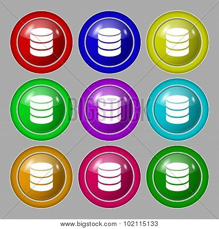 Hard Disk And Database Sign Icon. Flash Drive Stick Symbol. Symbol On Nine Round Colourful Buttons.