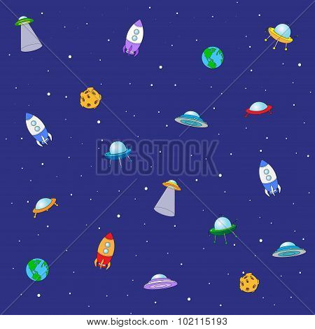 Seamless Texture With Space Rocket, Ufo, Earth And Moon. Background