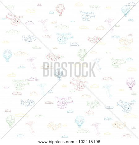 Seamless Texture With Cartoon Transport. Helicopter, Aircraft, Balloon And Kite In Cloudy Sky. Color