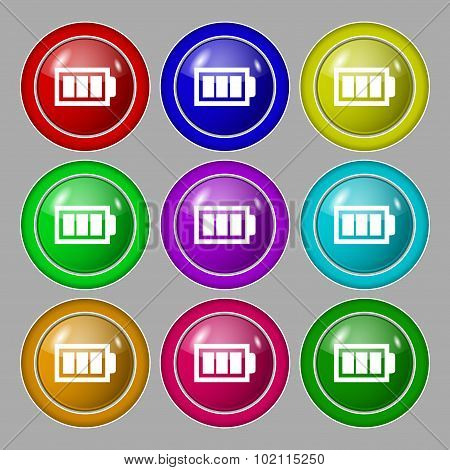 Battery Fully Charged Sign Icon. Electricity Symbol. Symbol On Nine Round Colourful Buttons. Vector
