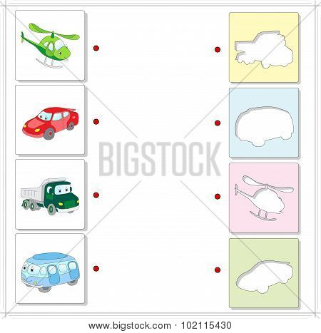Helicopter, Car, Lorry And Bus. Educational Game For Kids