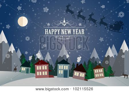 New Year Winter holidays landscape- night street.