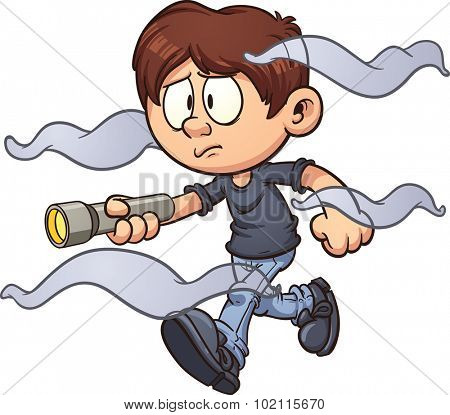 Scared cartoon boy with flashlight walking in the fog. Vector clip art illustration with simple gradients. Fog and boy on separate layer.