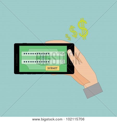 Male Hands Using Mobile Banking.