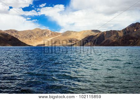 Pangong tso Lake and with Mountains in background