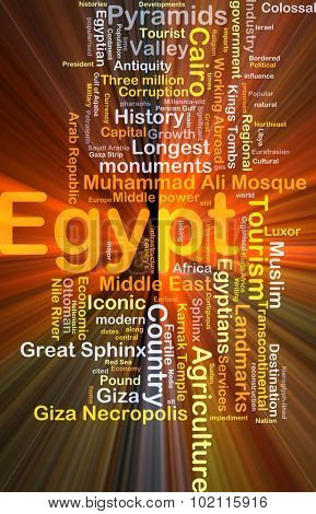 Background concept wordcloud illustration of Egypt glowing light