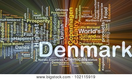 Background concept wordcloud illustration of Denmark glowing light