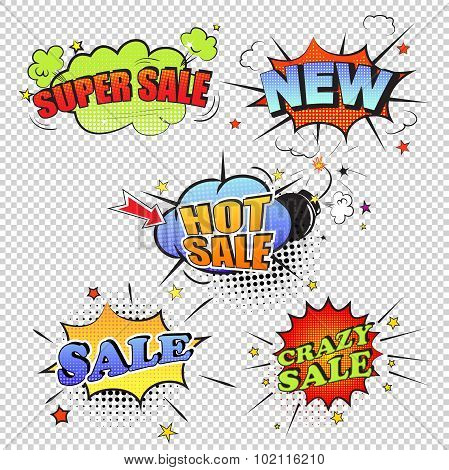 Set of pop art comic sale discount promotion vector illustration transparent backgraund