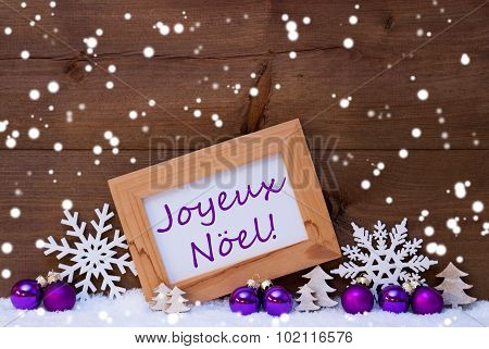 Purple Decoration, Snow, Joyeux Noel, Merry Christmas, Snowflake