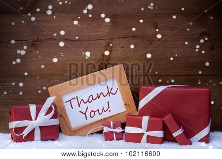 Red Christmas Decoration, Gifts, Snow, Thank You, Snowflakes