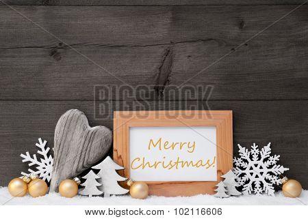 Golden Gray Decoration, Snow, Merry Christmas