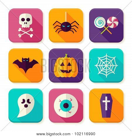 Flat Halloween Trick Or Treat Square App Icons Set